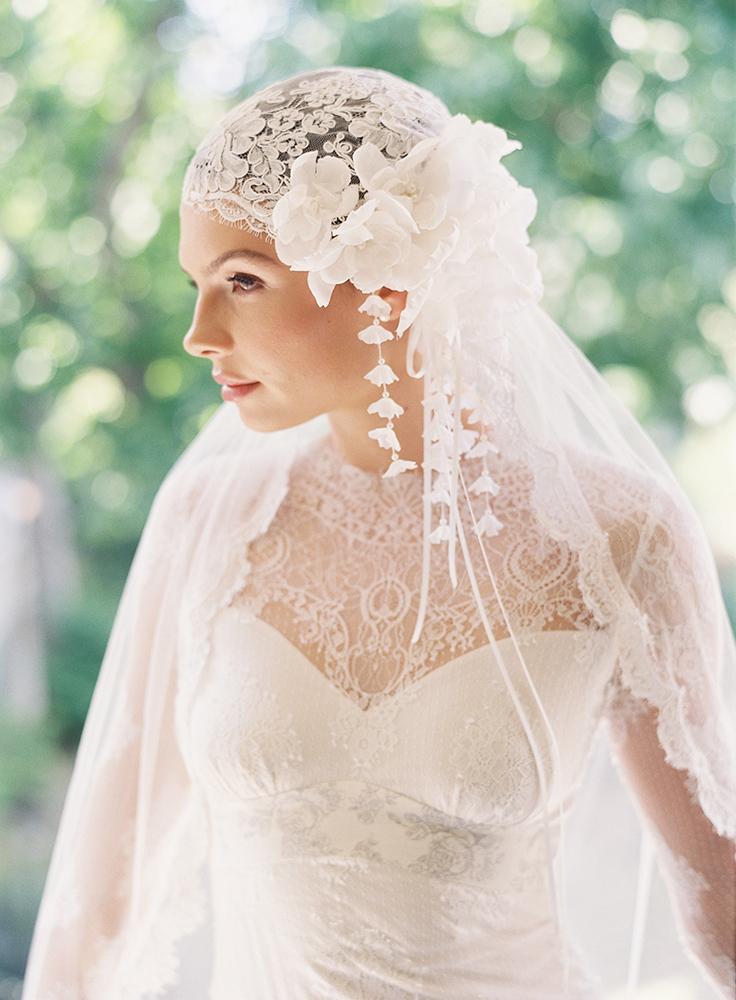 bridal cap juliet bridal veil wedding accessories 1920s
