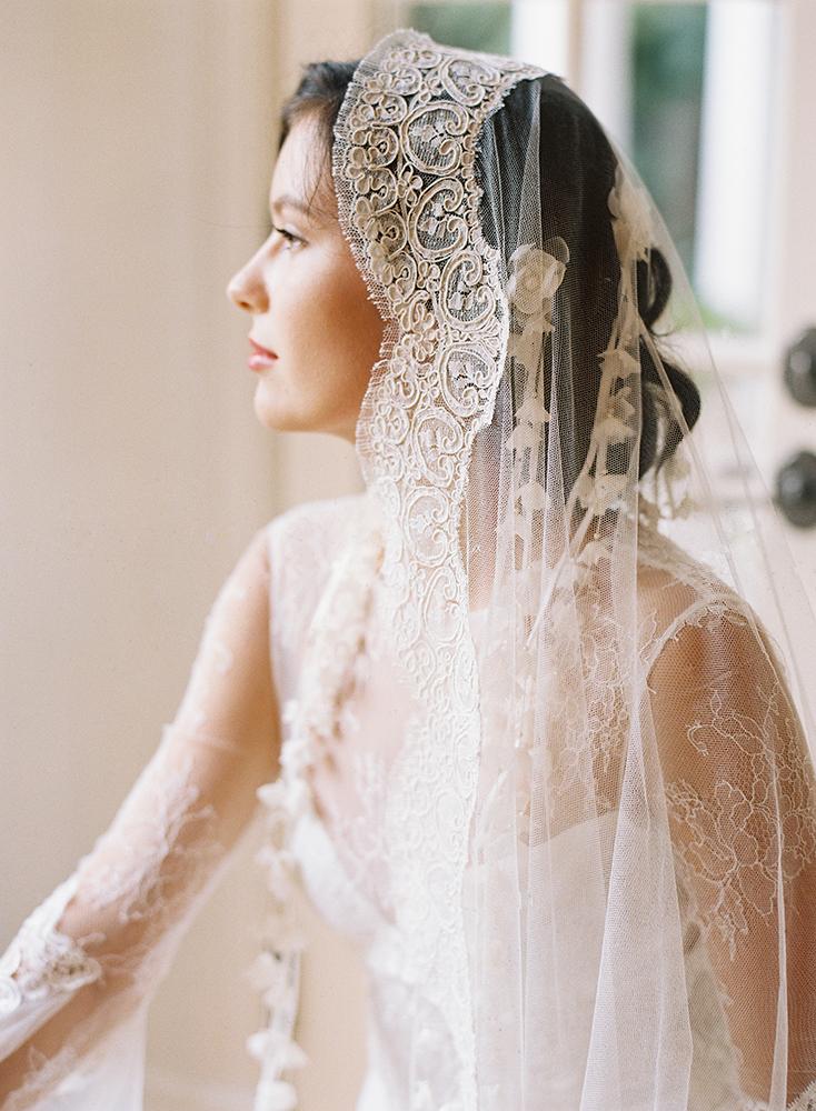 Mantilla Bridal Veil Silk Tulle Alencon Lace Cathedral
