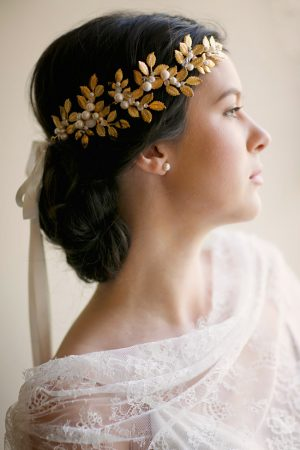 OCTAVIA LEAF & GEMSTONE BRIDAL CROWN