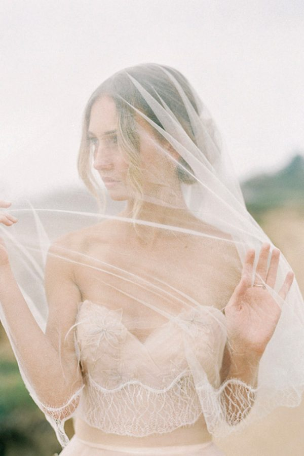 FLORENCE LACE EDGE SILK TULLE BLUSHER VEIL