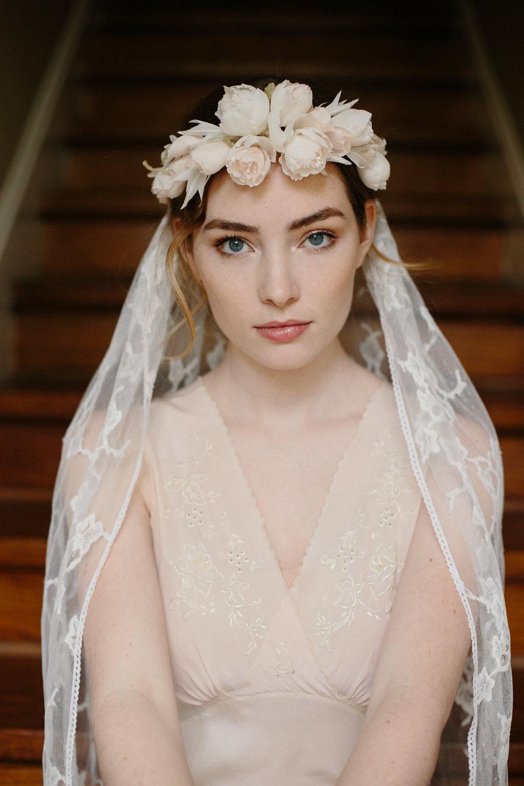 Bridal Silk Flower Crown Boho Chic Chantilly Lace