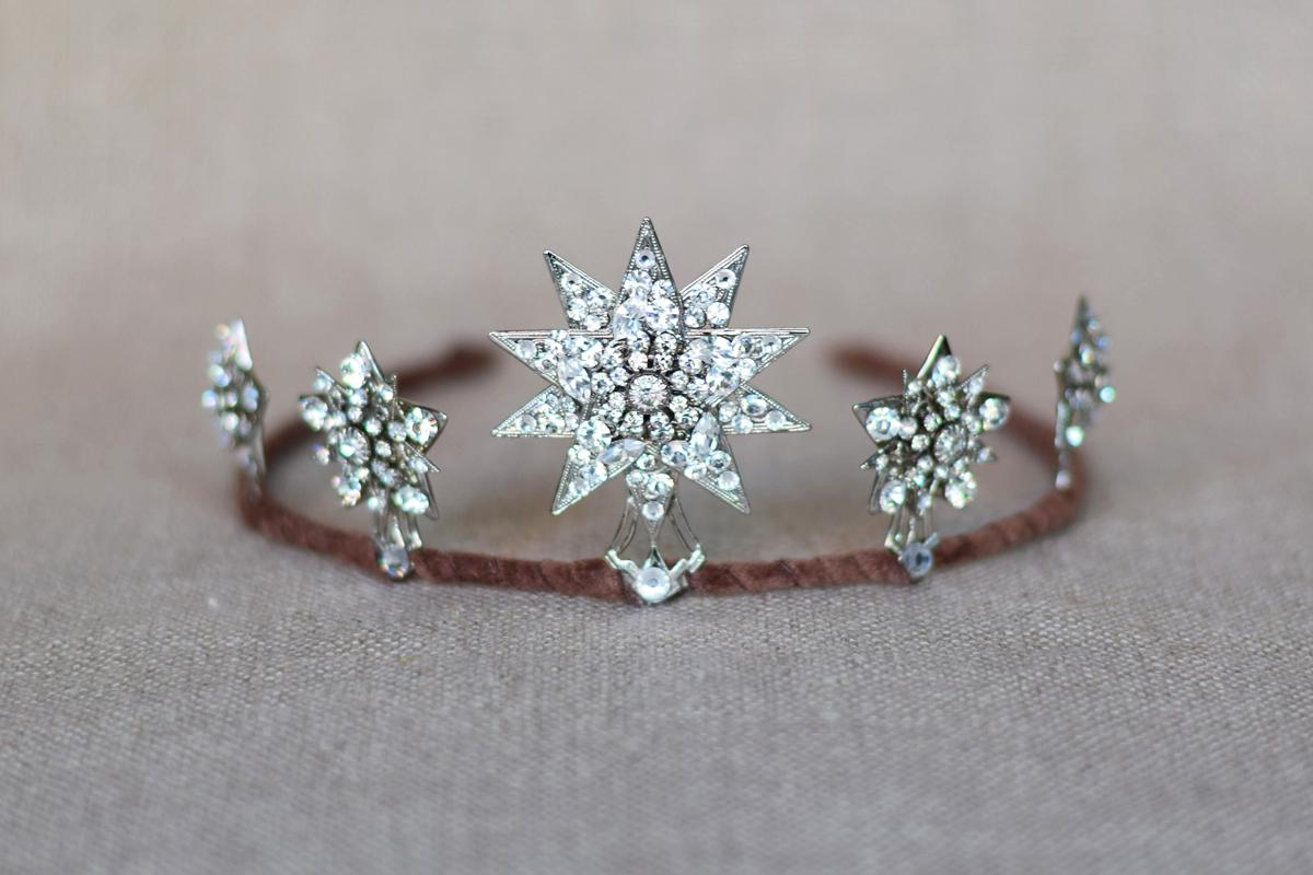 bridal star tiara, wedding tiara, 1920s starburst crown ...