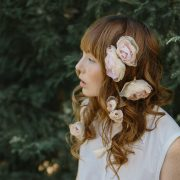 hair pins, bridal, silk flowers, roses, blush