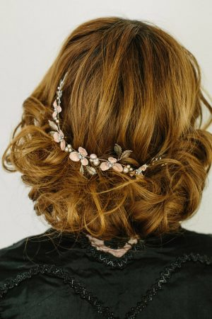 ROSE ENAMEL WEDDING HEADPIECE PRAIRIE BLOSSOM