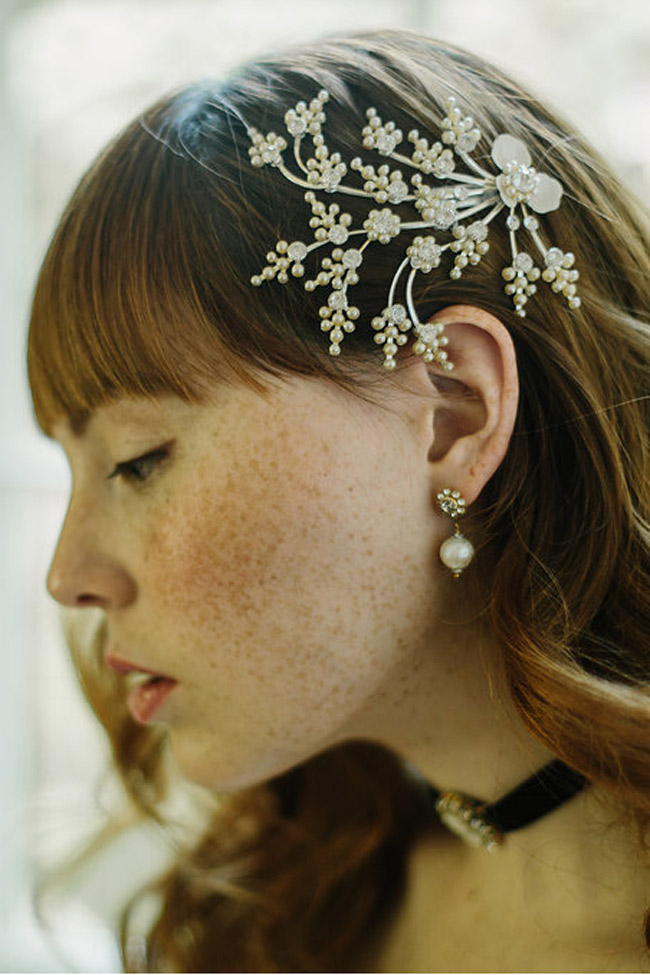 BRIDAL HAIR CLIP SILVER LACE
