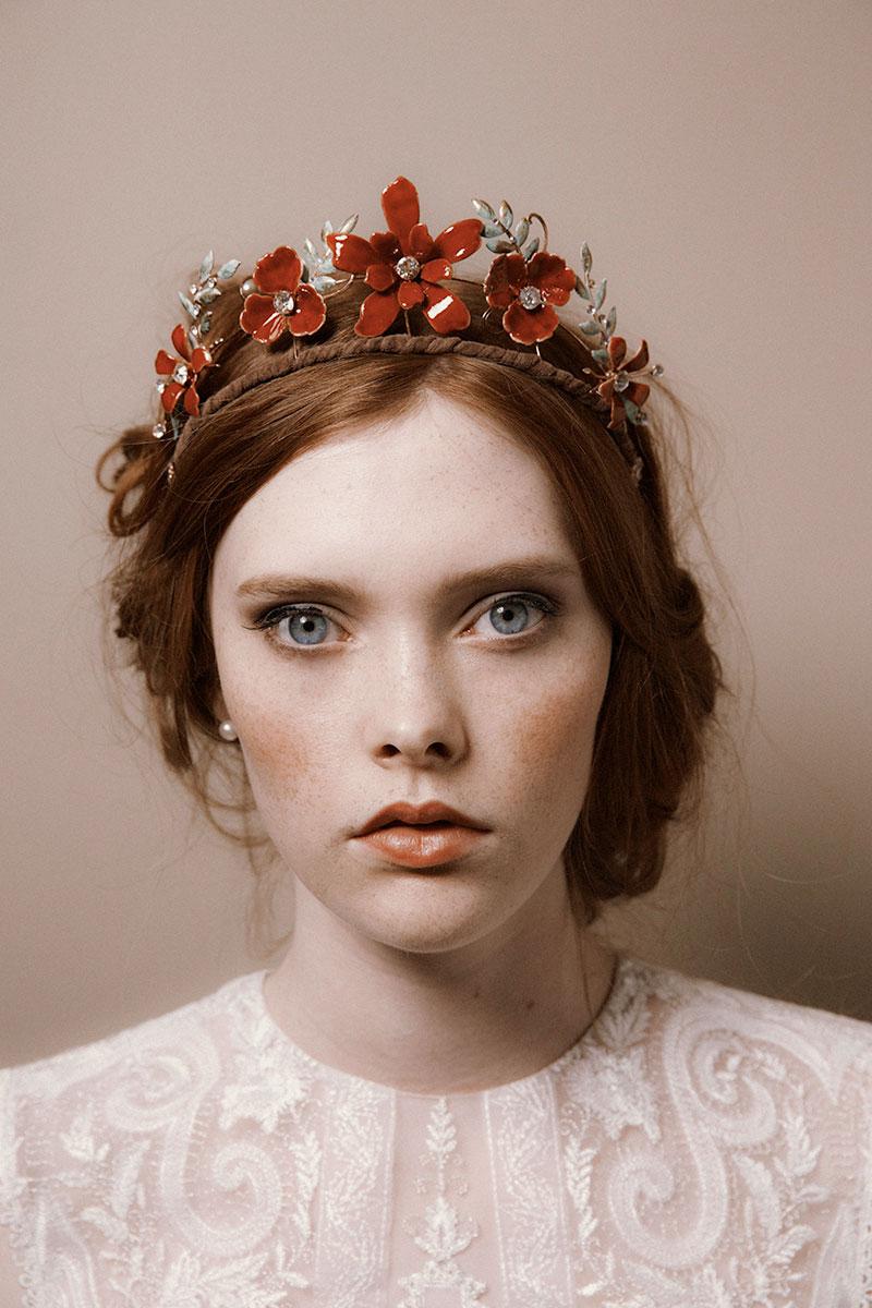 tiara  red headpiece  flower crown  headpiece  diadem  red enamel  royal