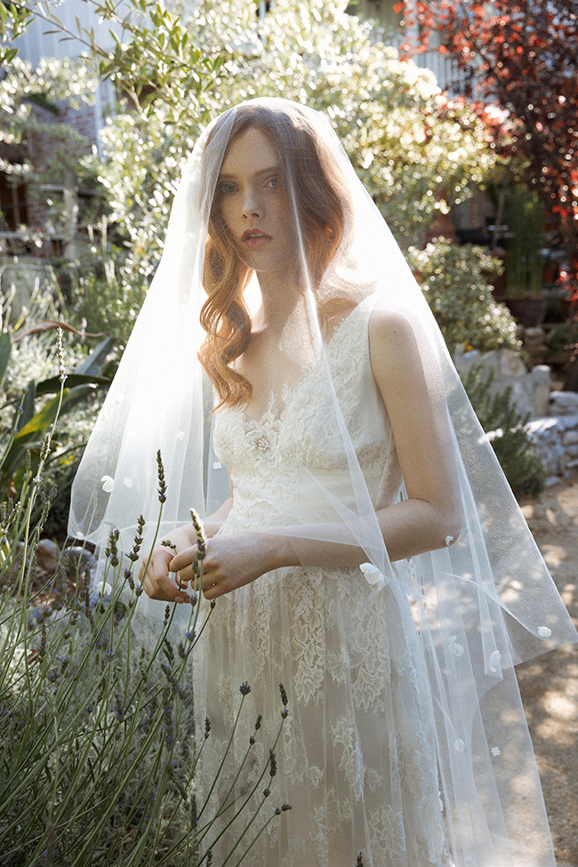 Wisteria blossom trimmed chapel veil