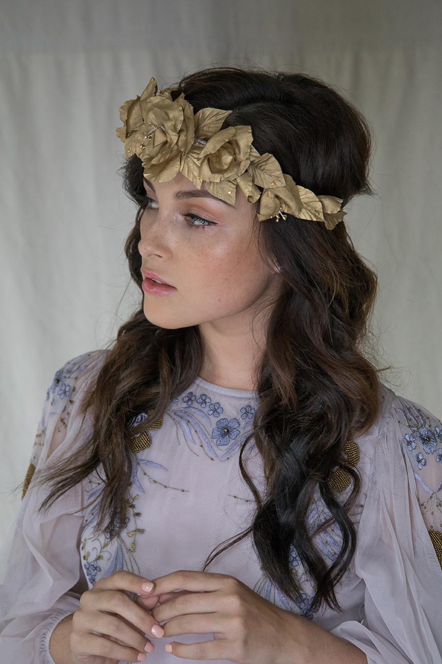 Flower Crown Wedding Headpiece Bridal Crown Gold Crown Silk Flower
